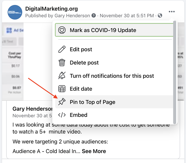 How to pin facebook video to top of newsfeed