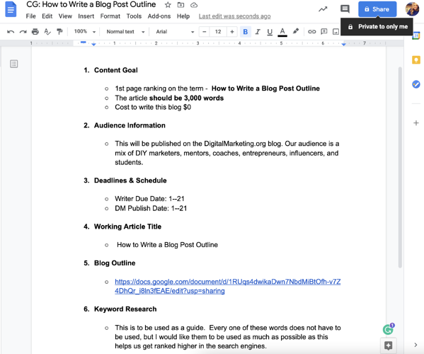 How to create a blog outline example
