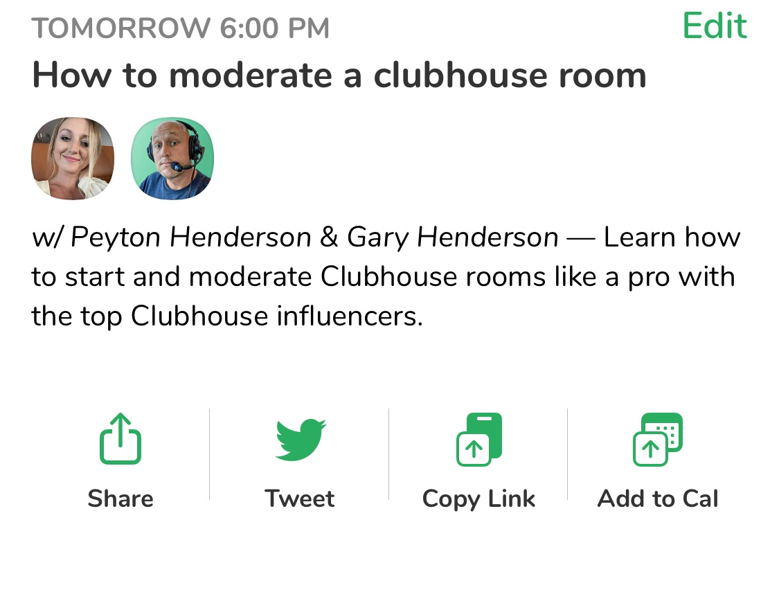 How to moderate a room on clubhouse example