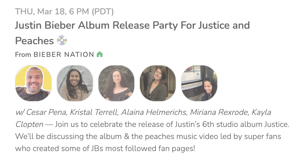 Justin Biebers album release party for Justice and Peaches