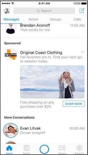 Facebook Messenger Home Ad