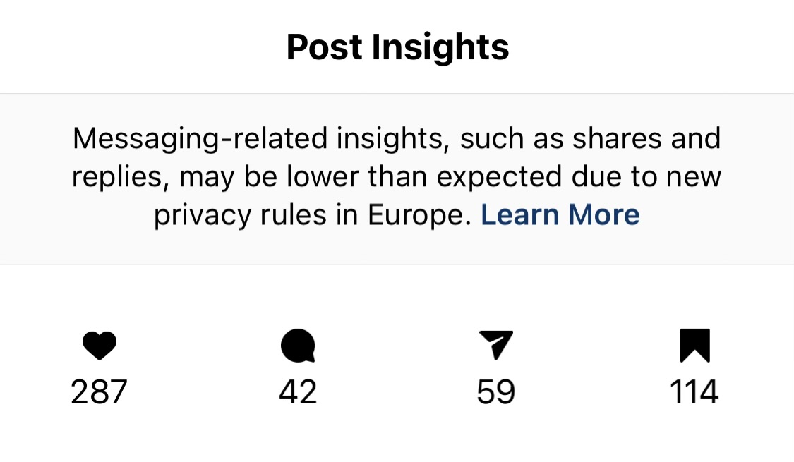 Instagram Carousel post insights example