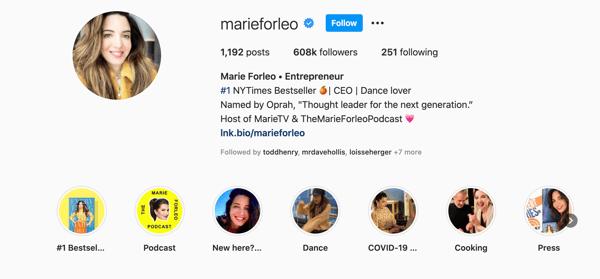 Marie Forleo - instagram influencer example