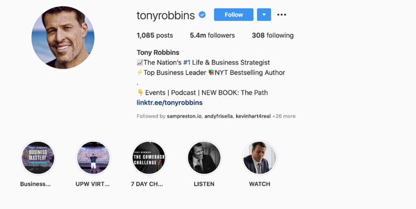 Tony Robbins what is an instagram influencer example