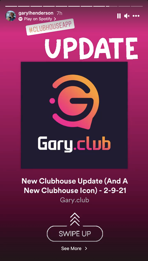 Gary.Club Instagram Swipe Up Feature and Instagram Example