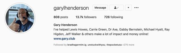 Gary Henderson Instagram Profile pic example