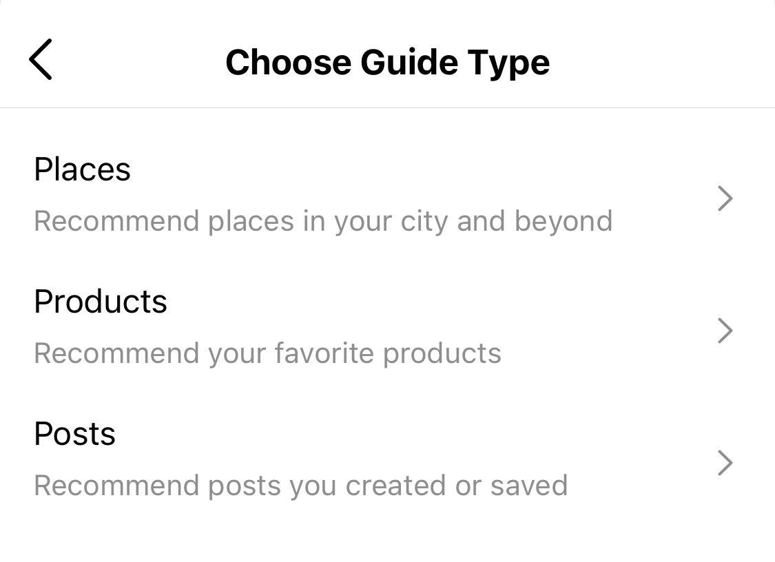how to choose instagram guide type