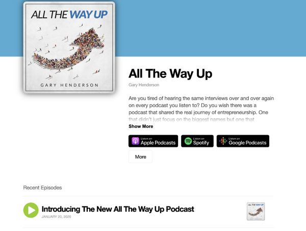 All The Way Up podcast landing page
