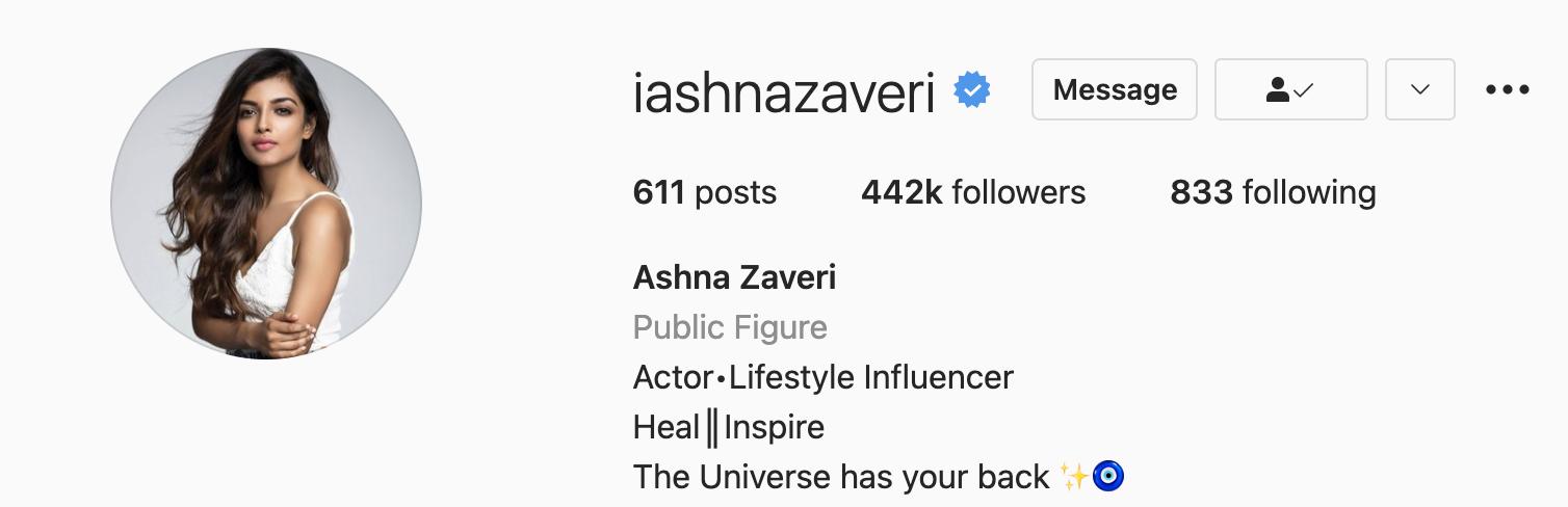 Ashna Zaveri Instagram account