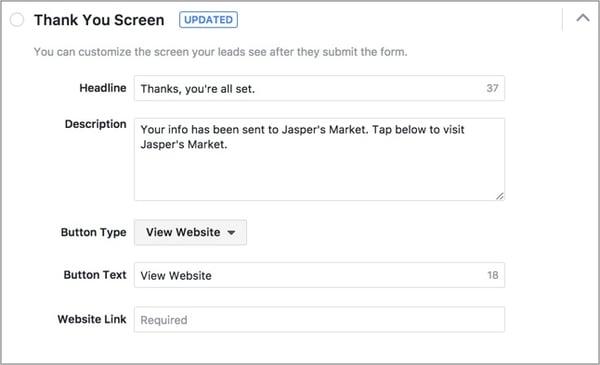Facebook Lead Ads Custom Thank You Screen