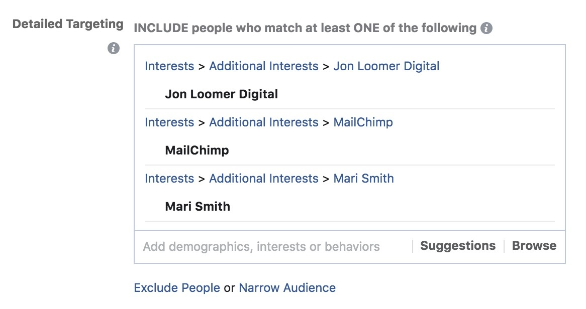 Detailed Facebook Targeting Example