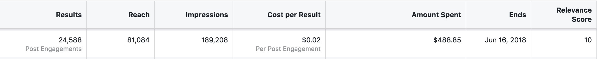 Facebook Ad Results Example