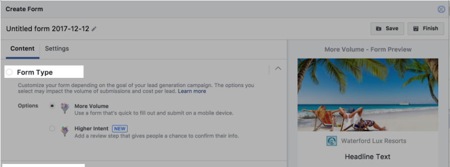 Lead Ad Form Type Example