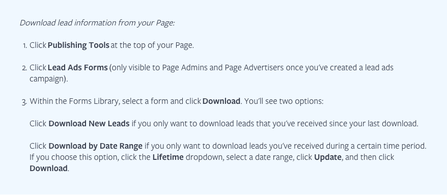 How To Manually Download Lead Ads From Your Page