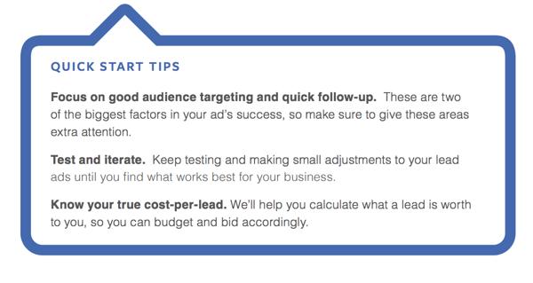 Facebook Lead Ad Quick Start Tips