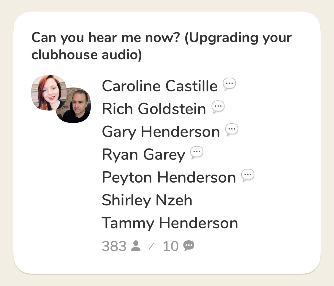 How to upgrade clubhouse audio