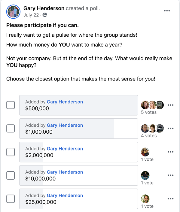 facebook account poll choices