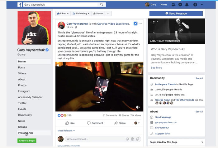 Facebook Info and Ads Example